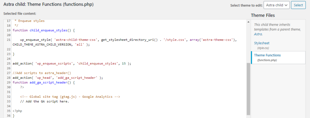 add google analytics code in astra