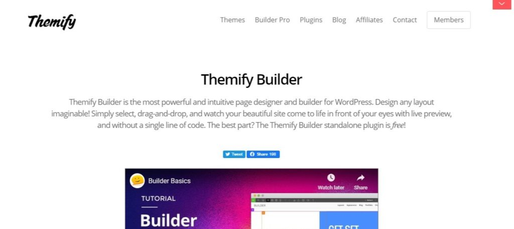 page builders - themify builder