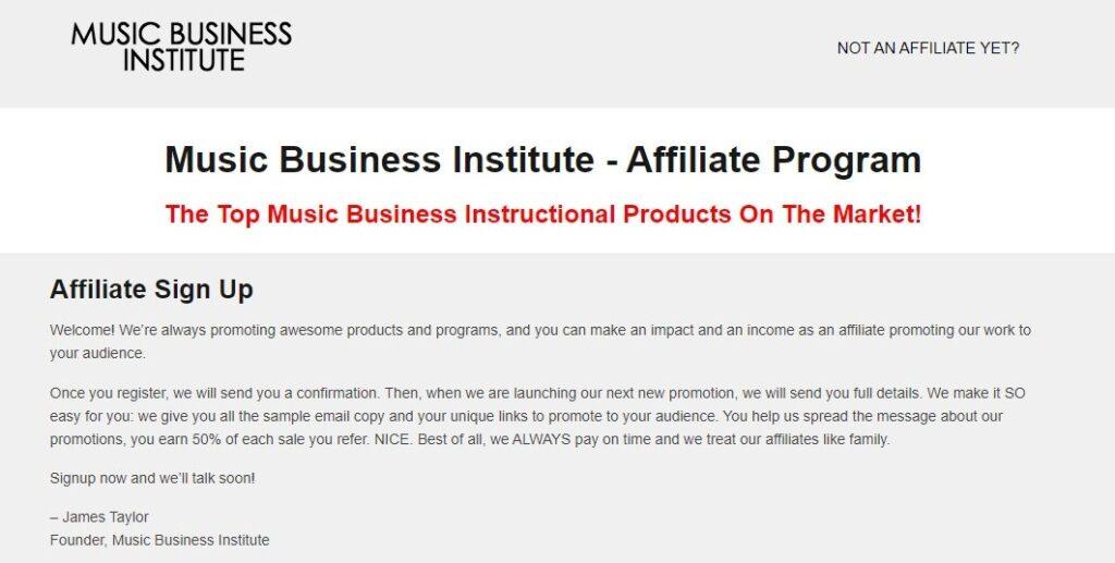music business institute Music affiliate programs