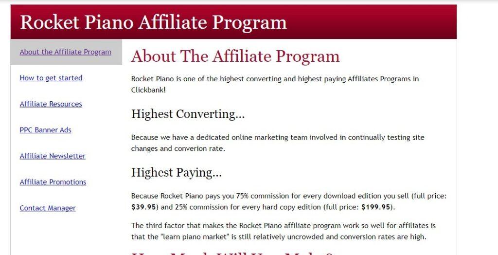 rocket piano Music affiliate programs