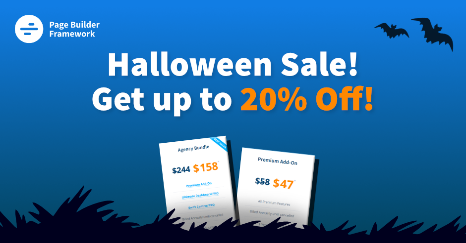 Page Builder Framework 20% Off Halloween Deal